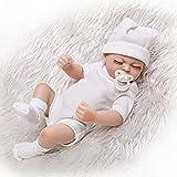"""Folder Realistisch aussehende Kleine 10""""26cm wiedergeborene Puppen Ganzkörper Hart Vinyl Silikon Babypuppe Jungen und Mädchen Spielzeug mit Magnet Schnuller (in Weiß)"""