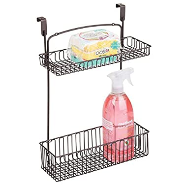 mDesign Over Cabinet Kitchen Storage Organizer Holder or Basket - Hang Over Cabinet Doors in Kitchen/Pantry - Holds Dish Soap, Window Cleaner, Sponges - Steel Wire in Bronze Finish