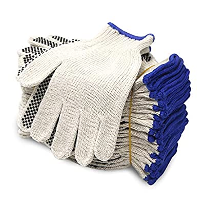 EvridWear Cotton Polyester String Knit Shell Safety Protection Work Gloves for Painter Mechanic Industrial Warehouse Gardening Construction Men & Women 12 Pairs, With One Size Dots, XL Size