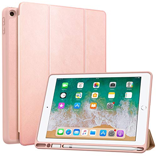 MoKo Case Fit 2018 iPad 9.7 6th Generation with Pencil Holder - Slim Lightweight Smart Shell Stand Cover Case with Auto Wake/Sleep Fit iPad 9.7' 2018 Released(A1893/A1954) - Rose Gold
