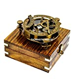 5' Triangular Beautiful Nautical Sundial Compass with Level Meter Encased in Genuine Rosewood Anchor Inlaid Case Maritime Decor Gifts