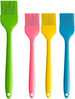 KMHZ Basting Brushed 4 Pieces Set Pastry Brushes Silicone Heat Resistant Baking Kitchen Cooking,Spread Oil Butter Sauce Ma...