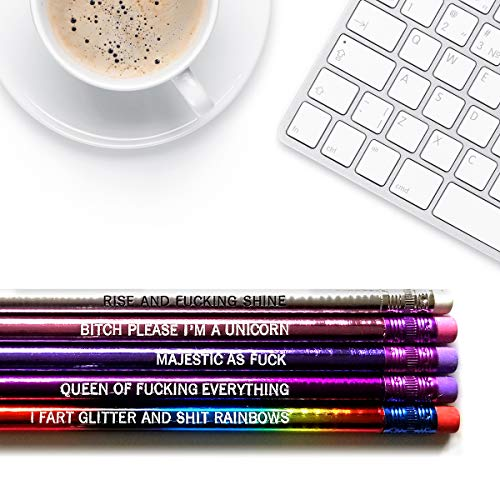 Majestic AF - Inspirational Pencils Engraved With Funny And Motivational Sayings For School And The Office