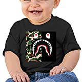 Bape Blood Shark Cotton Short Sleeve T-Shirt, Suitable for Toddlers, Baby Girls and Boys Black