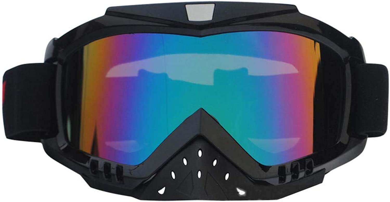 HEXUAN Motorradbrille Offroad-Helmbrille mit Windschutzscheibenbrille und Skibrille