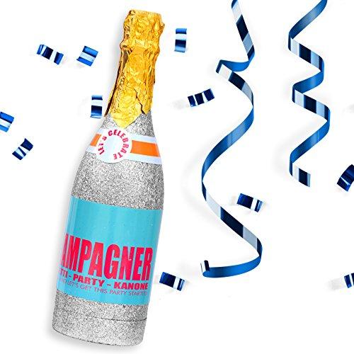 papapanda Konfettikanone Party Popper Konfetti Shooter Luftschlangen Streamers mit Champagner Flasche Cannon Champagne Bottle