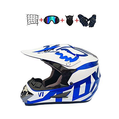 BHGJ Casco Motocross Niño,Diseñado con FOX Cascos De Motocross Cascos de Cross de Moto Set con Gafas Máscara Guantes(FOX,azul) (M)