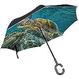 Alice Eva Paraguas invertido Carey Tortuga Marina Paraguas inverso Protección UV Resistente al Viento Negro