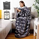 Wearable Healing Thoughts Blanket by illiati, Sherpa Fleece Throw Blanket, After Surgery Gifts, Breast Cancer Blanket, Inspirational Uplifting Get Well Soon Gift for Women Men, Gray Blanket