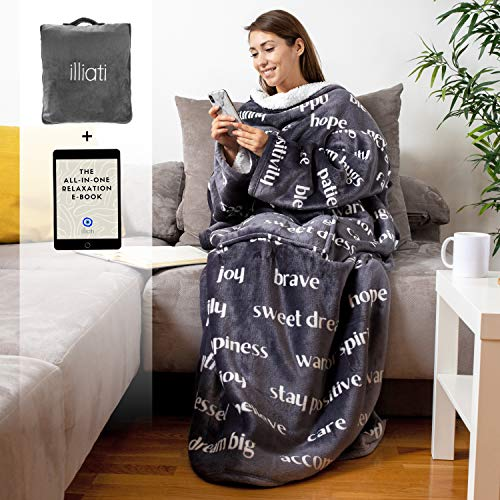 Wearable Healing Thoughts Blanket by illiati Sherpa Fleece Throw Blanket After Surgery Gifts Breast Cancer Blanket Inspirational Uplifting Get Well Soon Gift for Women Men Gray Blanket