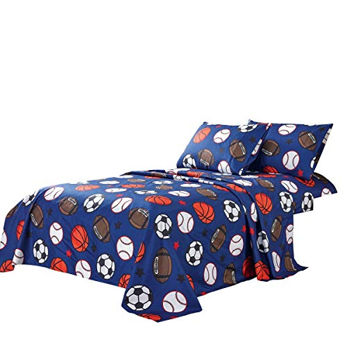 WPM Kids Collection Bedding 3 Piece Blue Twin Size Sheet Set with Flat Fitted Sheets Pillow sham Football Soccer Baseball Basketball Fun Sports Design (Football, Twin Sheet Set)