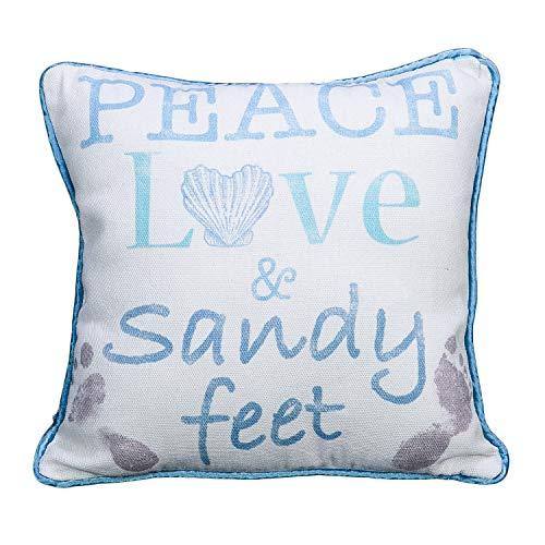Peace Love and Sandy Feet - Almohada decorativa de playa de 30,5 cm