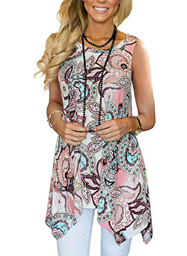 Viracy Loose Tank Tops for Women, Ladies Summer Casual Sleeveless Swing Tunic Floral Shirts Plus Size (3X, 04-Pink)