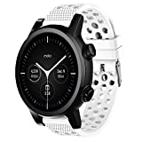 Compatible for Moto 360 3rd Gen Band, Blueshaw Silicone Replacement Wristbands Sport Strap with Metal Buckle Compatible for Moto 360 3rd Gen 2020 (White)