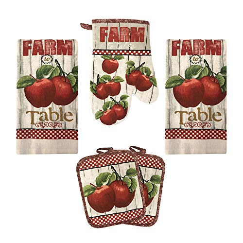 Lobyn Value Packs Kitchen Towel 5 Piece Linen Set 2 Towels 2 Pot Holders 1 Oven Mitt (Apple 2)
