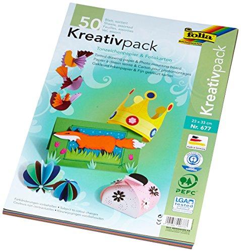 folia 677 - Kreativpack Tonpapier / Fotokarton, ca. 23 x 33 cm, 50 Blatt, farbig sortiert - die ideale Grundlage für vielfältige Bastelideen