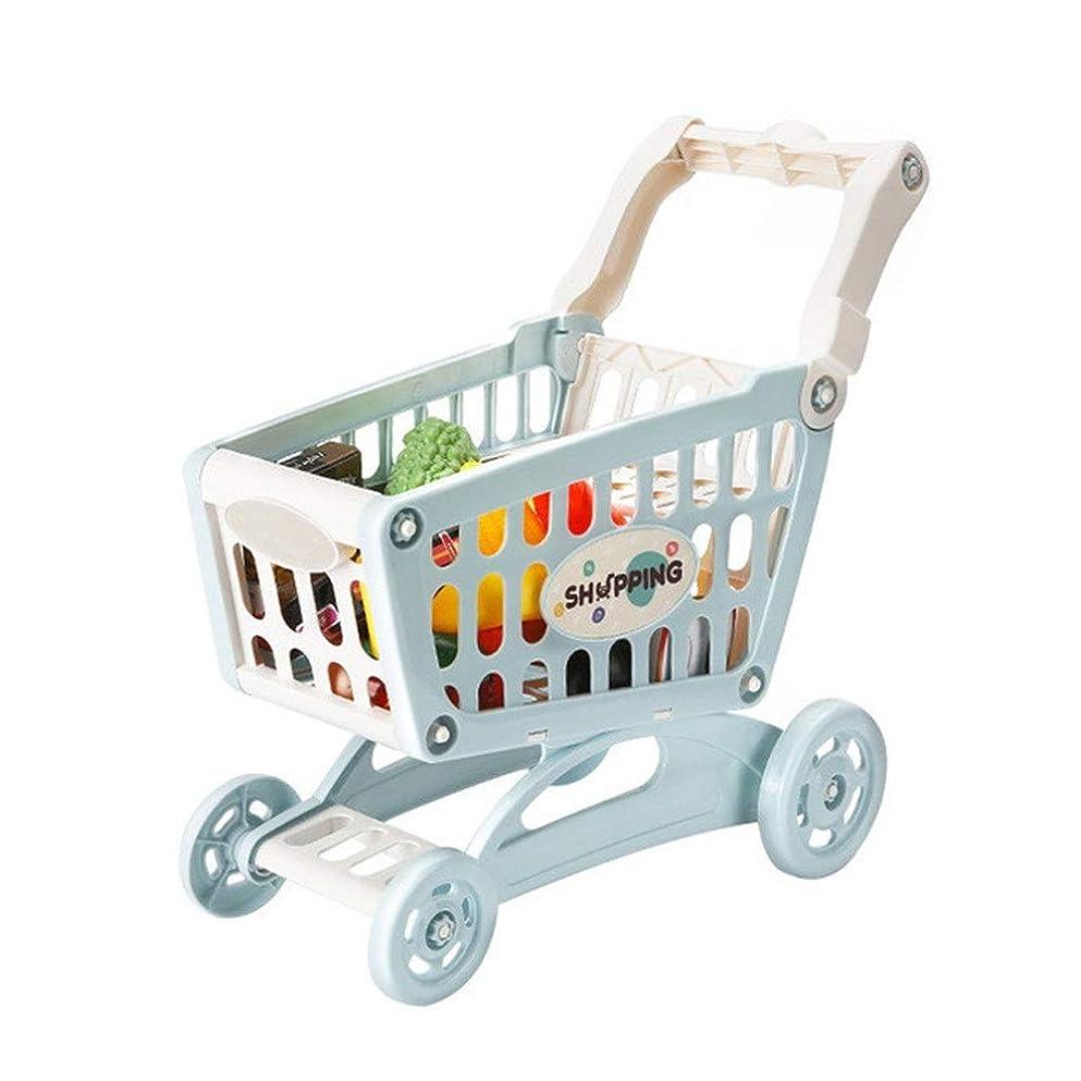 マチュピチュ持つ有料ショッピングカートのおもちゃ 付属食料品カート玩具と教育玩具ショッピングカートスーパーマーケットプレイセットとふり食品アクセサリー 幼児向け3歳以上 (色 : 青, Size : 38x40x10CM)