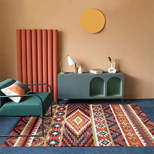 Kunsen Alfombra Grande Naranja Salón de alfombras Naranja Patrón de Rayas geométricas Alfombra Duradera Antiácaros Alfombras para Terrazas El 180X280CM Alfombra Terraza Exterior 5ft 10.9''X9ft 2.2''