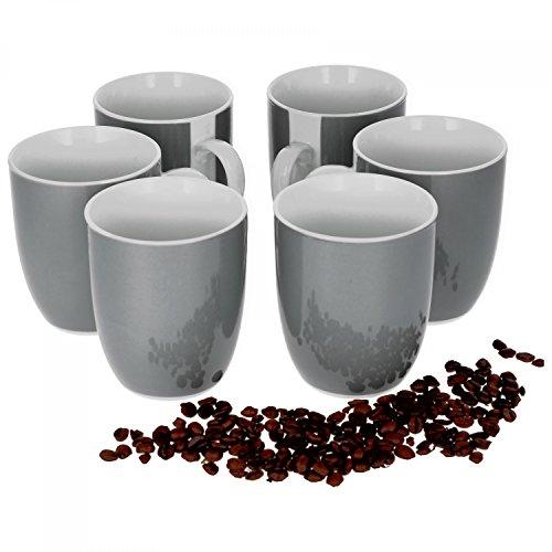 Van Well Vario 6er Kaffeetassen-Set I Porzellan-Tasse groß - in div. fröhlichen Farben I pflegeleichtes Tassen-Set - für Spülmaschine & Mikrowelle geeignet I 300 ml Kaffeebecher Grau 6 Stück