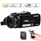 Videocámara Cámara de Video 4K ORDRO AC7 con Zoom óptico de 10x 3.1 'Pantalla Táctil IPS Ultra HD 1080P 60FPS Videocámaras con Cámara Digital WiFi