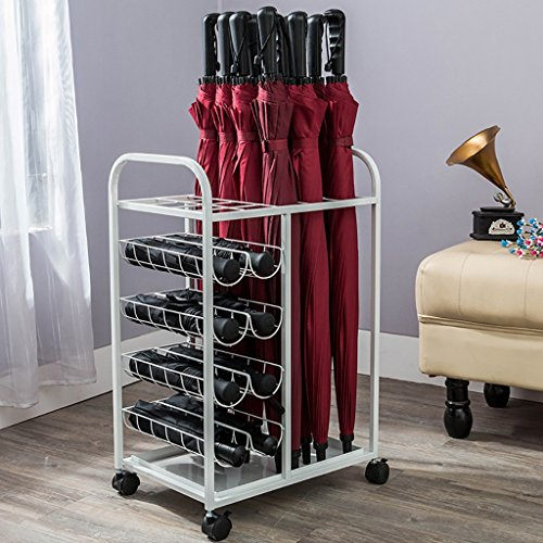 Stockage de Parapluie Porte-parapluies Iron Hotel Lobby Umbrella Frame European Family Parasol Rack Iron Creatif Umbrella Rack Umbrella Barrel Storage Barrel Parapluie médias (Couleur : Blanc)