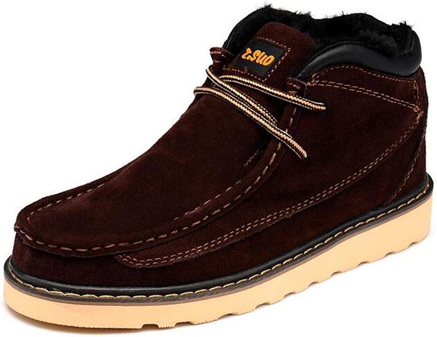 Y-H Men's Casual shoes, Fall Winter Leather Lace-up Martins Boots,Slip-Ons Training shoes, Combat Boots Formal shoes (color   Reddish brown, Size   41)