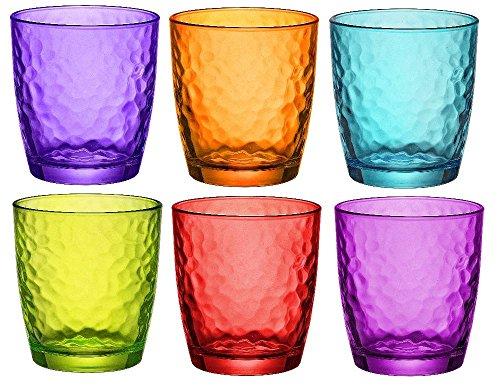 Bormioli Rocco Palatina Colored Glasses Tumbler - 320ml (11 once) - Multicolore - Lotto di 6