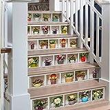 Etiqueta engomada de la pared de la escalera 3D plantas verdes en macetas...