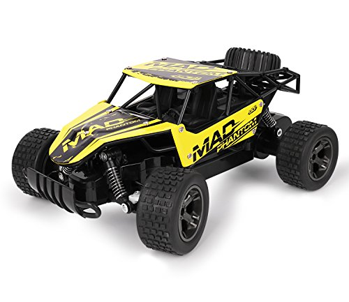 FITMAKER RC Cars, All Terrain Remote Control High-Speed Car?Offroad 2.4Ghz 2WD Remote Control Monster Truck, for Kids and Adults(Yellow)