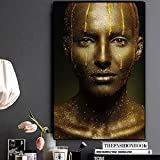 IHlXH Pittura a Olio Donna Nera e Oro su Tela Arte Africana Cuadros Poster e Stampe Immagine su Parete per Soggiorno A2 50x70 Senza Cornice