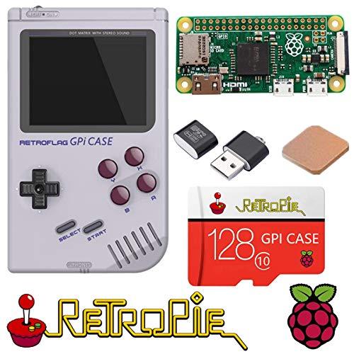 TAPDRA Raspberry Pi zéro Poche Console de Jeu Portable, RETROFLAG GPi Cas avec l'arrêt sûr, 128Go Carte Rapide avec 14000+ Jeux, personnalisés retropié Emulation Game Station