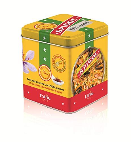 Spigol Épices - 3% de Safran - Parfume et Colore vos Plats - Épices à Paella, Riz, Poisson - 100% Naturel - Boîte Métal de 100g avec Cuillère Doseuse