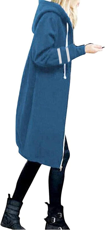 Winter Coat Women Long Waterproof Warm Coat Cardigan Solid Color Loose HoodedJacket Zip Closure Windbreaker Jacket Slim