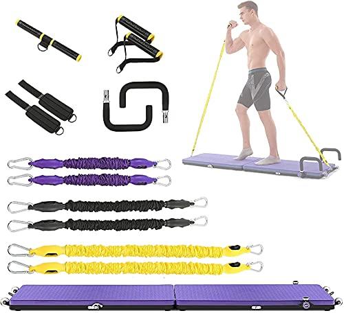LSWY Tablas de yoga portátiles, tablero muscular de la aptitud plegable con mango de ejercicio, bucle de pie, mango en forma de U y banda de resistencia, bastidor multifuncional del edificio del cuerp