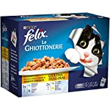 purina felix le ghiottonerie umido gatto le varietà con platessa, con tonno, con coniglio e con pollo - 60 buste da 100 g ciascuna (6 confezioni da 10 x 100 g)
