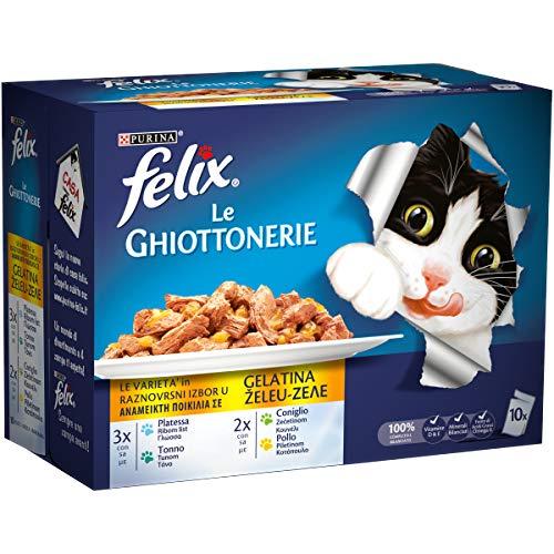Purina Felix Le Ghiottonerie Lot de 6 sachets de 10 x 100 g pour Chat, Motif Chat, avec Lapin, et Poulet