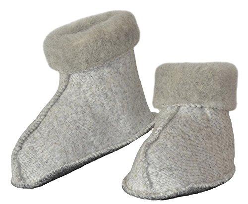 SamWo, Calcetines unisex de lana de oveja con suela antideslizante, 100% lana de oveja, color Gris, talla 37/38 EU