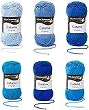 Schachenmayr Catania Wolle Set 4, 6x50g, Blau Mix