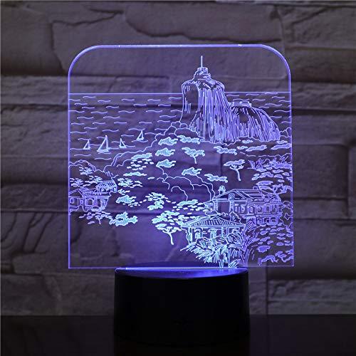 3D LED Party Dekoration USB Tischlampe See Segelboot Landschaft Baby Schlaf Nachtlicht Kinderspielzeug Beleuchtung Visual Kids Geschenk 2323