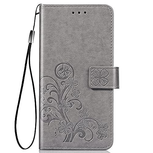 Dedux Hülle für OnePlus Nord CE 5G Flip Wallet Hülle, Premium PU Leder Tasche Handyhülle, Kartensteckplätzen Schutzhülle Ständer Etui, Grau