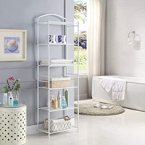 HOMEFORT Metal Bathroom Shelf,6-Tier Tower Rack, Freestanding Storage Organizer, Metal Shelving Unit with 6-Tier Durable Shelves for Bathroom, Kitchen, Living Room, Laundry