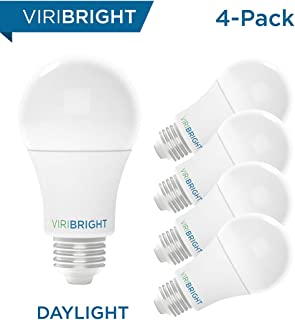 Viribright 100W Equivalent LED Light Bulbs, Daylight (6500K) 13W A19, Medium Screw (Edison) Base, 1350 Lumens, Non-Dimmable, General Purpose, UL Listed (4-Pack)