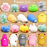 Calans Mochi Squishy Toys, 16 Pcs Mini Squishy Party Favors for kids Animal Squishies Stress Relief Toys Cat Panda Unicorn Squishy Squeeze Toys Kawaii Squishies Birthday Gifts for Girls & Boys Random