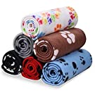 6 Pack Pet Blanket Warm Dog Cat Fleece Blankets Sleep Mat Pad Bed Cover with Paw Print Soft Blanket for Kitten Puppy and Other Small Animals
