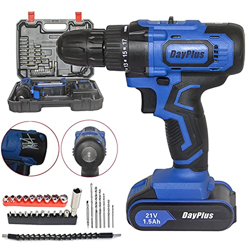 21V Cordless Combi Drill Impact Driver Set 2 Speed Electric Screwdriver with 29pc Accessory Kit, Built-in Tail Manual Hammer and Magnet Function, LED Work Light, 1.5Ah Li-Ion Battery & Fast Charger