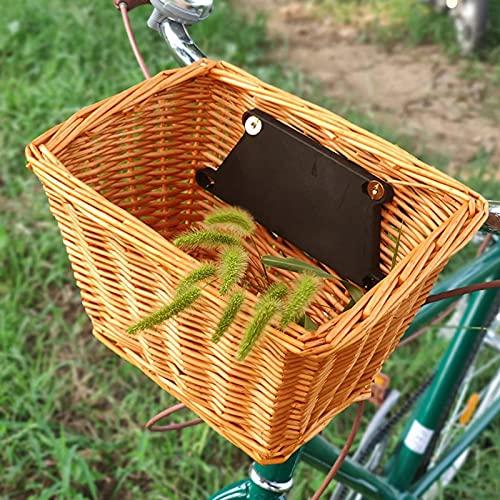 Cesta De Bicicleta De Mimbre, Cesta De Tiendas De Tejido a Mano Portátil Canasta De Artesanía De La Bicicleta De La Bicicleta Cesta De Almacenamiento-Primary Color||25 * 16 * 19cm