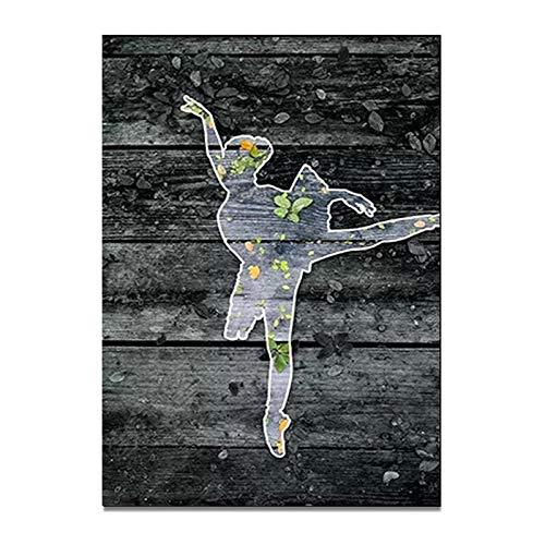 hetingyue Frameless abstract nordic retro ballerina meisje beeld silhouet poster canvas kunst prints muur kunst schilderij slaapkamer