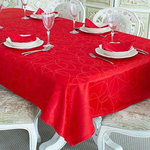 Lineas - Mantel de Mesa, Tratamiento Antimanchas, Tallas Grandes, Color Rojo -, Rojo, 59 x 118 (150 x 300cm)