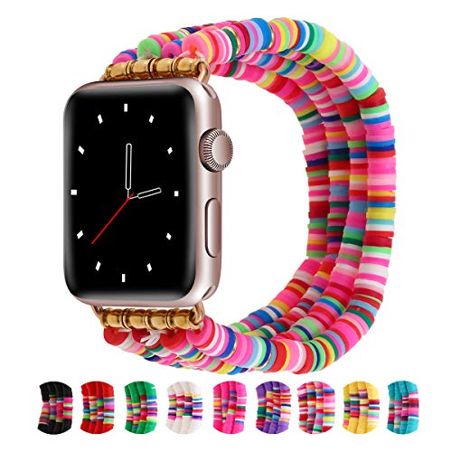 Betykuku Compatible with Apple Watch Bands 38mm/40mm Series 5/4 Women Girl, Cute Handmade Fashion Stack Rainbow Vinyl Disc Bead Compatible for Apple iWatch Series 5/4/3/2/1 (Mixed colors, 38/40)