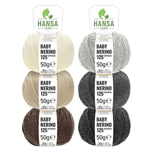 100% Merinowolle extrafine superwash - 300g Mix Set (6 x 50g) - Weiche Baby Merino Wolle zum Stricken & Häkeln - Oeko-Tex Standard 100 zertifiziert - Merinowolle Set Hansa-Farm
